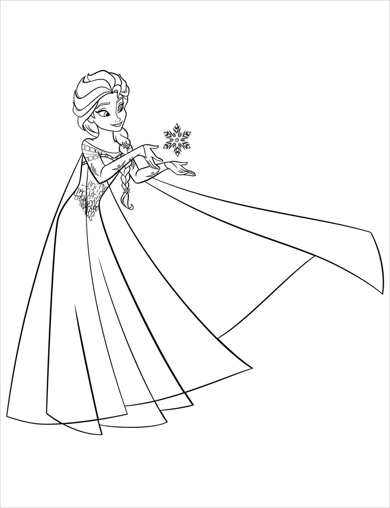 Ảnh tô màu công chúa Elsa