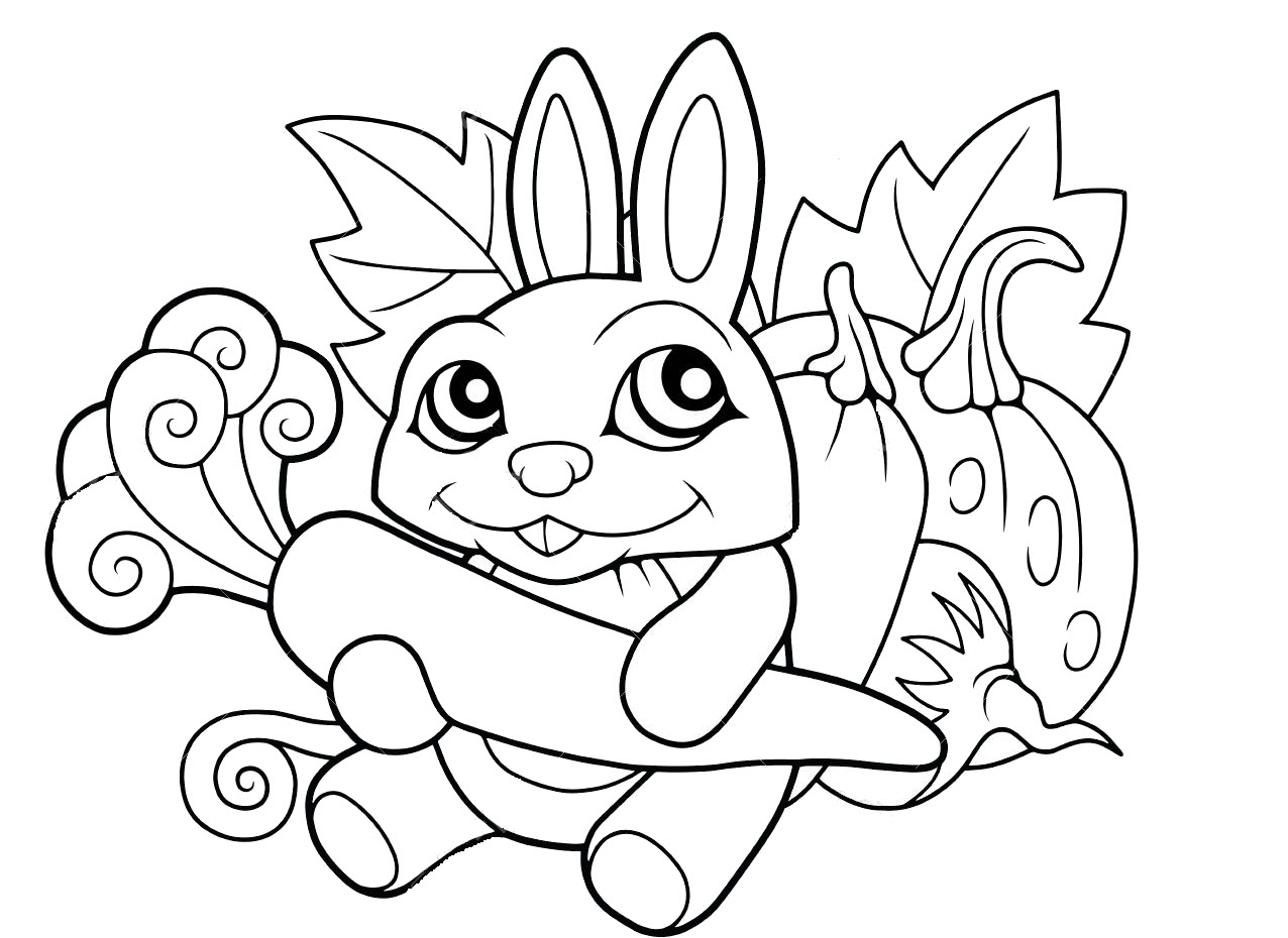 Coloring Cartoon Cute Rabbit with a Carrot