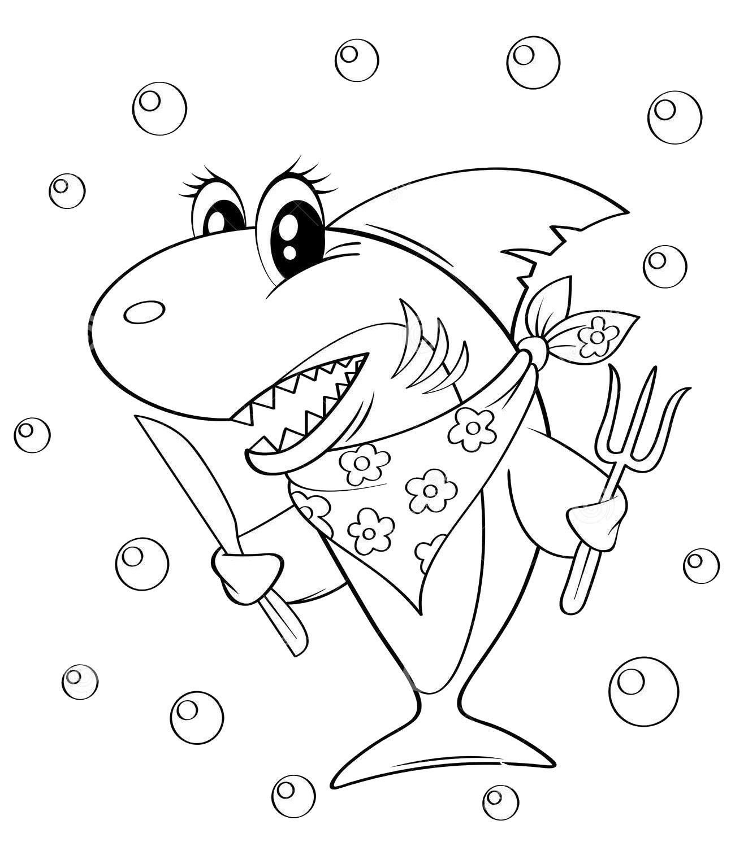 Coloring Cute Cartoon Shark