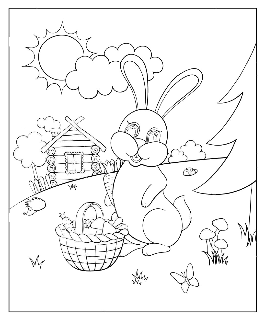 Coloring for kids with rabbit and carrots