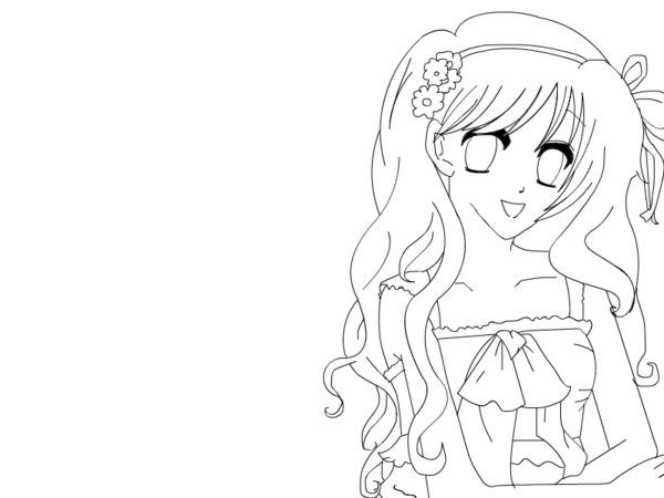 Cute anime girl coloring