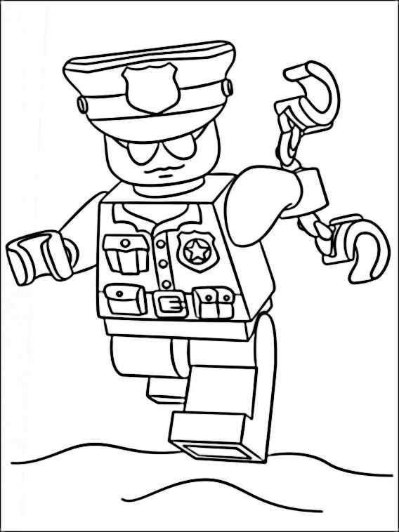 Hình ảnh lego chú công an cầm còng số 8