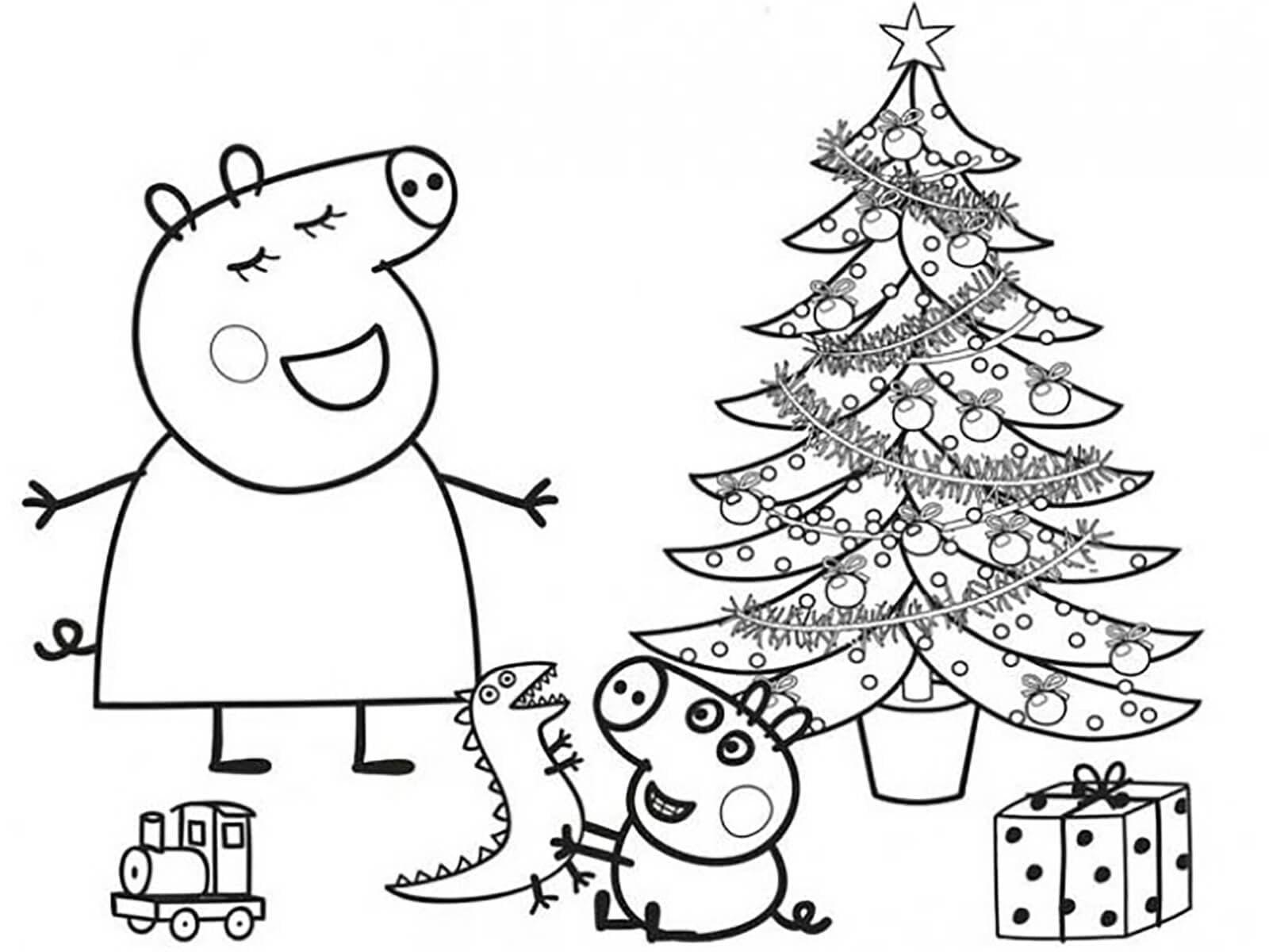 Hình ảnh tô màu bé heo Peppa cực đẹp vào ngày Giáng Sinh
