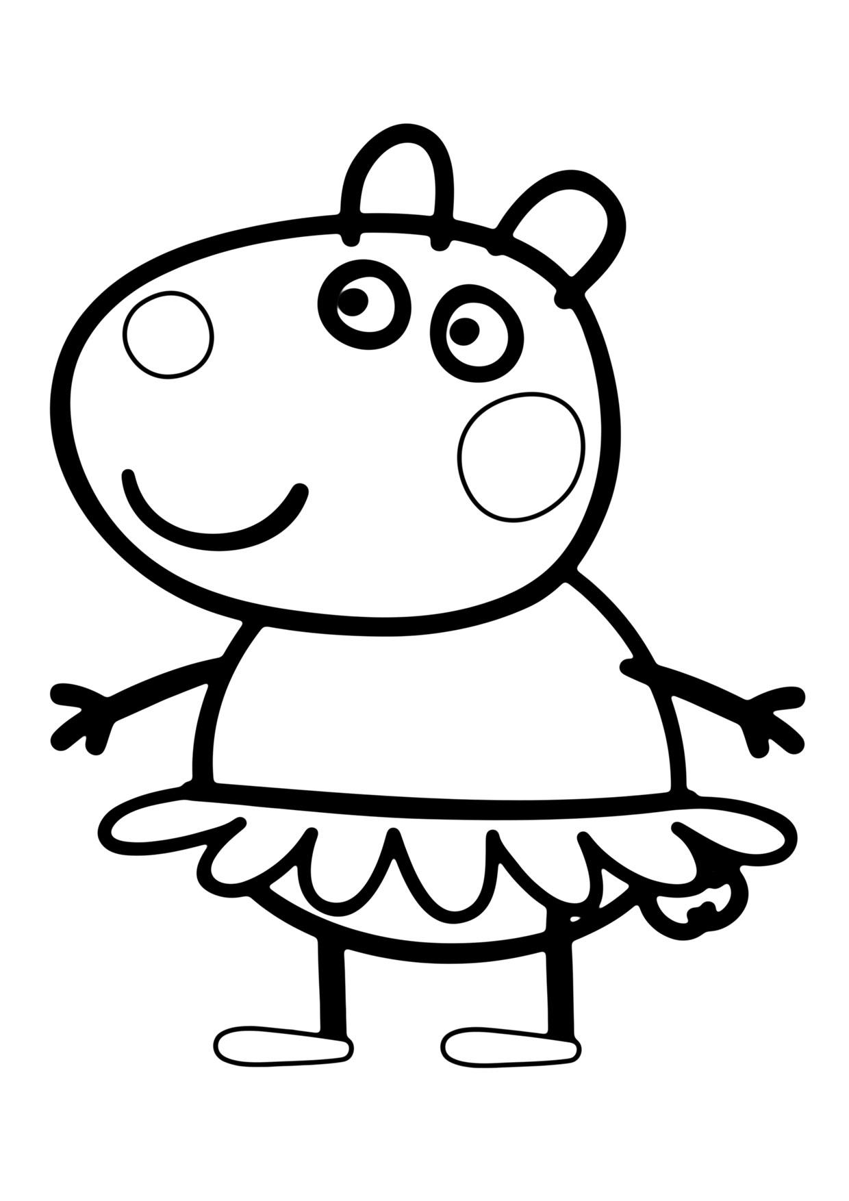 Hình ảnh tô màu bé heo Peppa mặc váy
