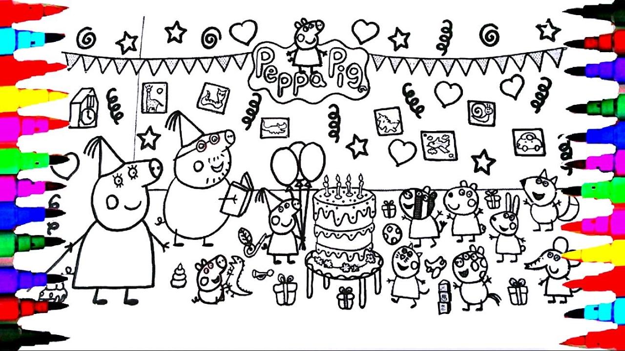 Hình ảnh tô màu bé heo Peppa trong bữa tiệc sinh nhật