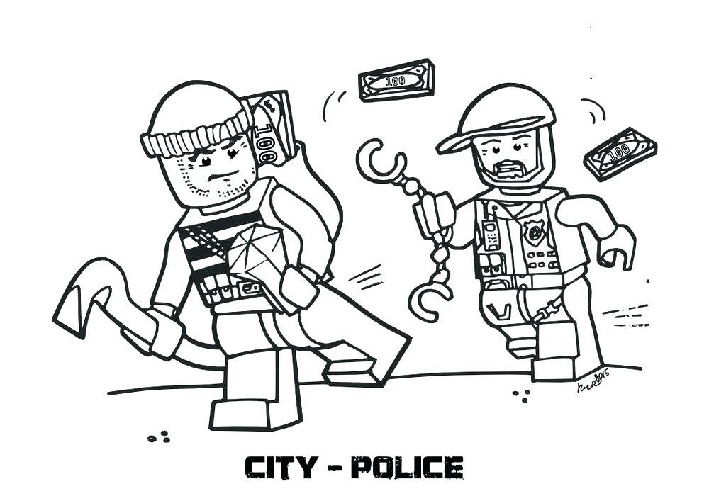 Hình ảnh tô màu cảnh sát đuổi bắt nhau