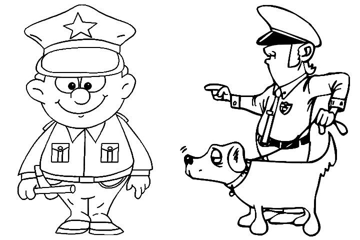 Hình ảnh tô màu chú cảnh sát và chó khuyển cảnh cực đẹp