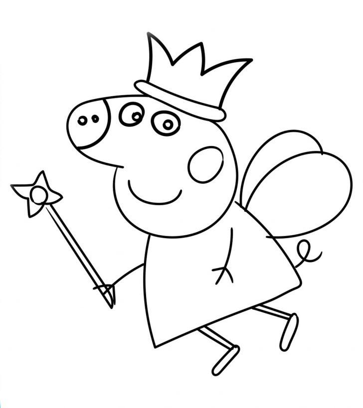 Hình ảnh tô màu chú heo Peppa đội vương miện