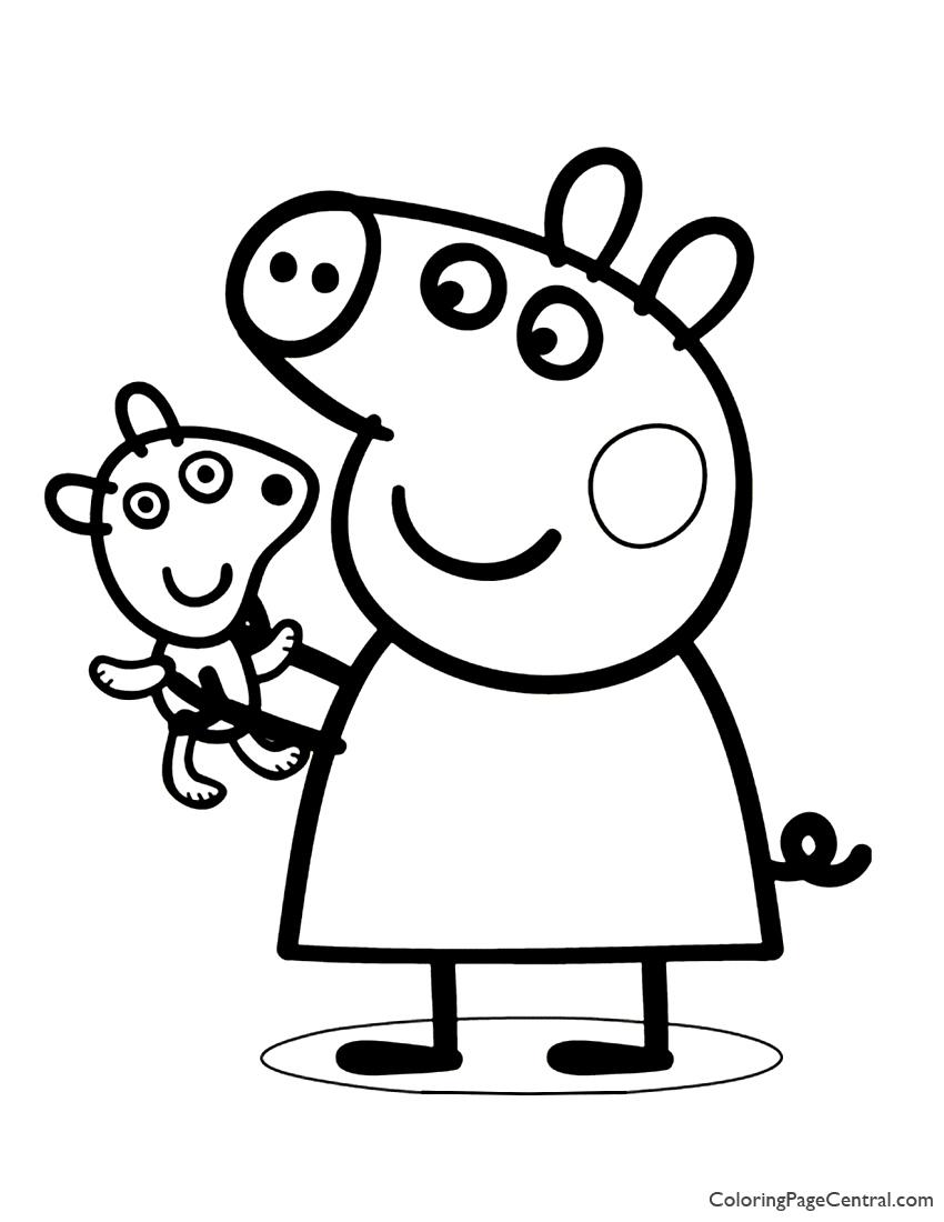 Hình ảnh tô màu chú heo Peppa và gấu bông