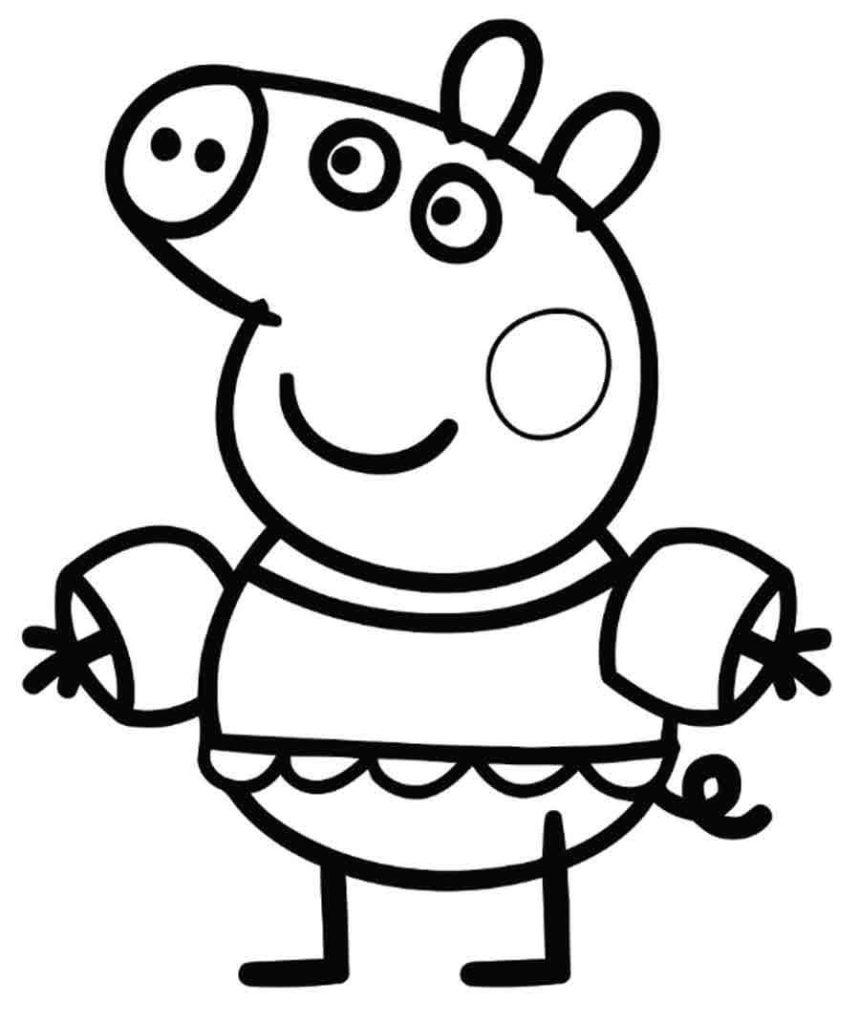 Hình ảnh tô màu chú heo Peppa với bộ quần áo đặc biệt