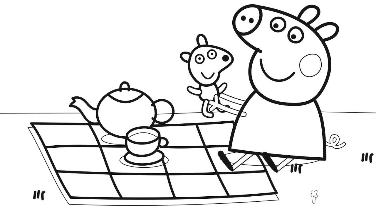 Hình ảnh tô màu heo Peppa và bữa tiệc picnic