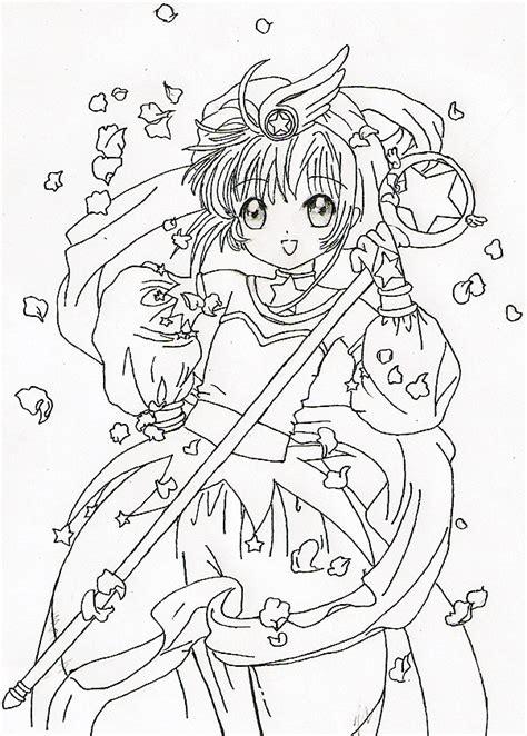Hình ảnh tranh tô màu của Sakura xinh đẹp