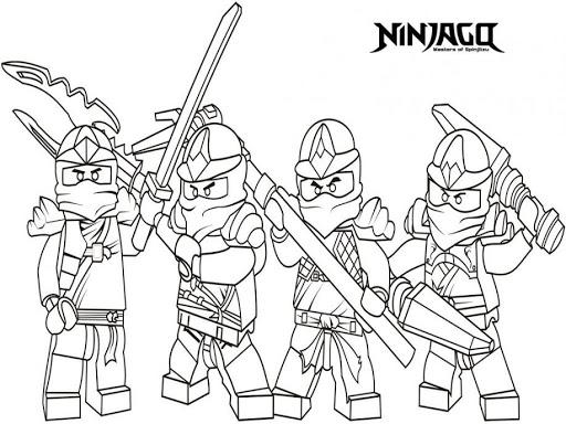 Hình ảnh tranh tô màu ninjago cầm vũ khí thủ thế