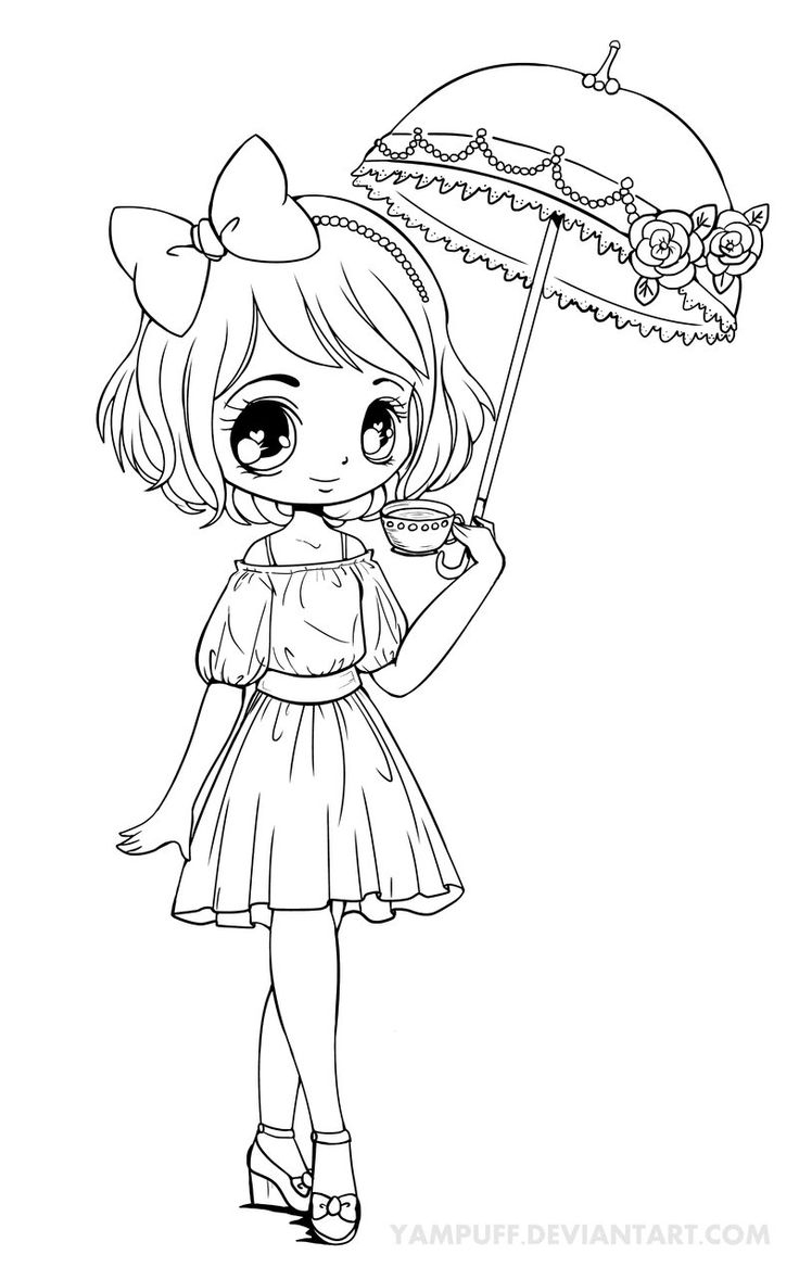 Hình tô màu anime chibi