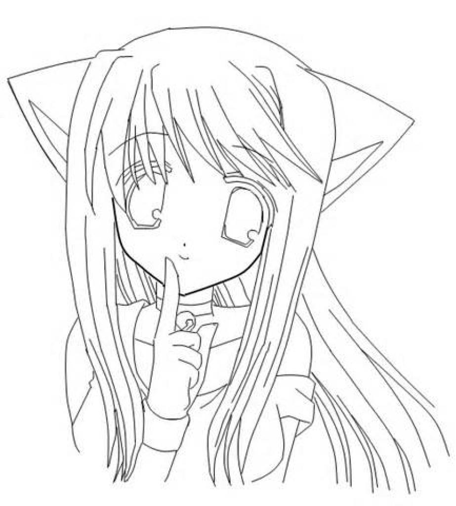 Hình tô màu anime tai mèo