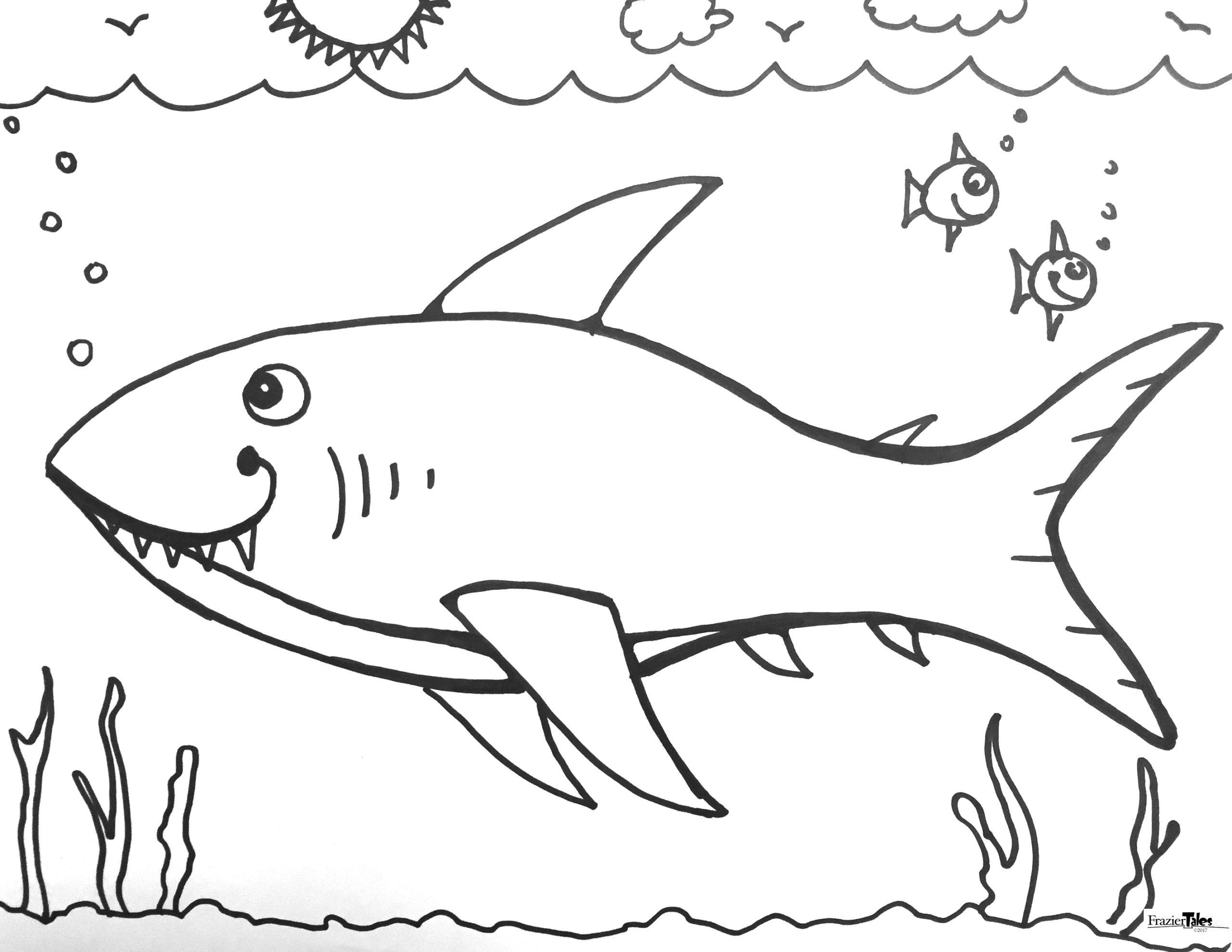 Hình tô màu cá mập cho bé mới tập tô