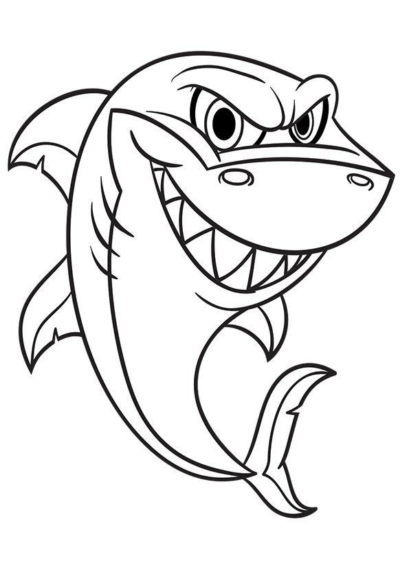 Hình tô màu cá mập dễ thương