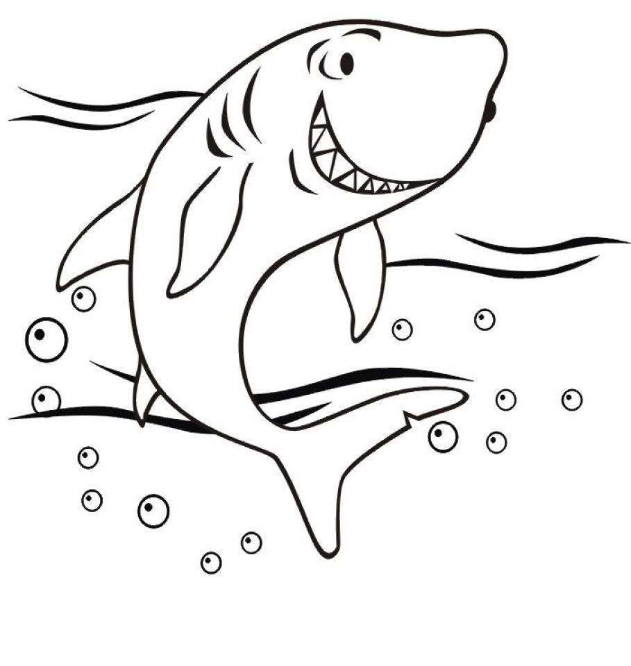 Hình tô màu cá mập đơn giản