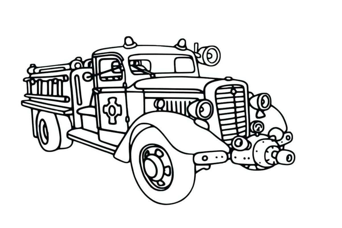 Hình tô màu xe cứu hỏa đẹp nhất