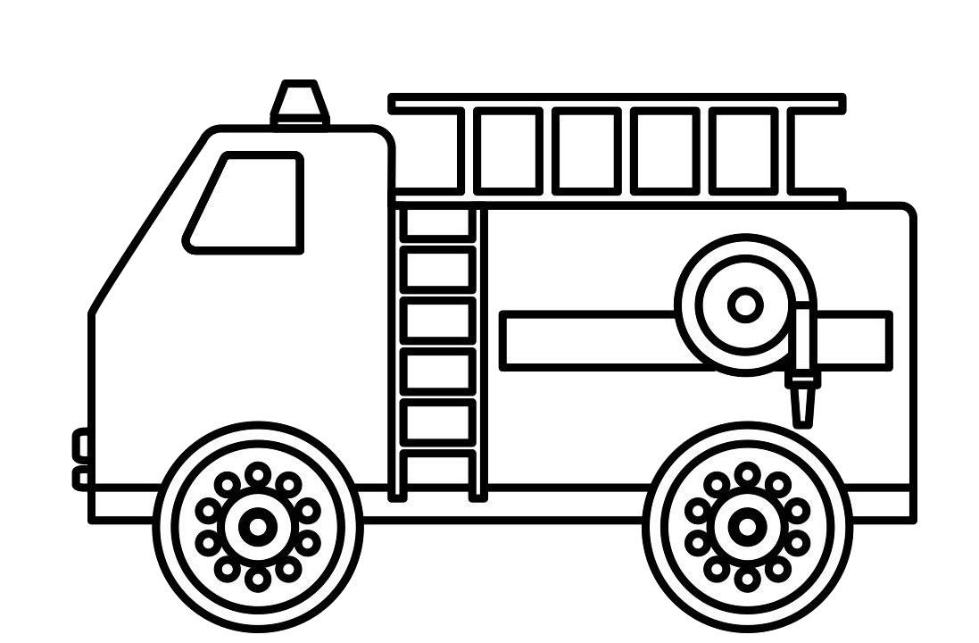 Hình tô màu xe cứu hỏa đơn giản