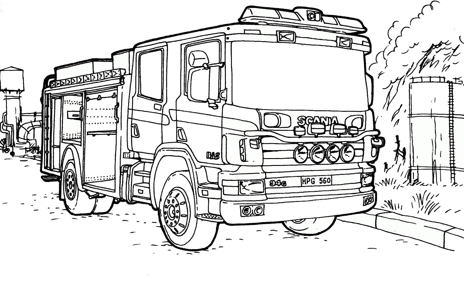 Hình tô màu xe phòng cháy chữa cháy