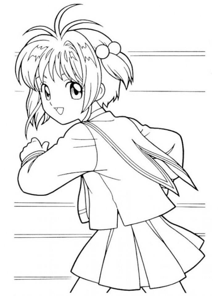 Hình tranh tô màu Sakura mặc đồng phục đang chạy