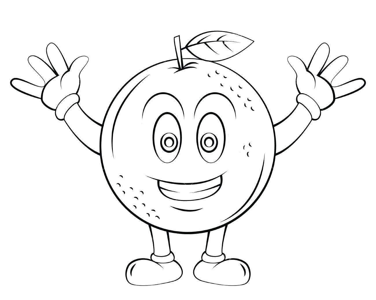 Orange Fruit Cartoon Coloring