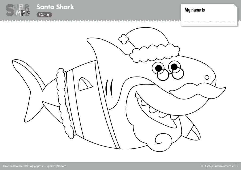 Santa Shark coloring