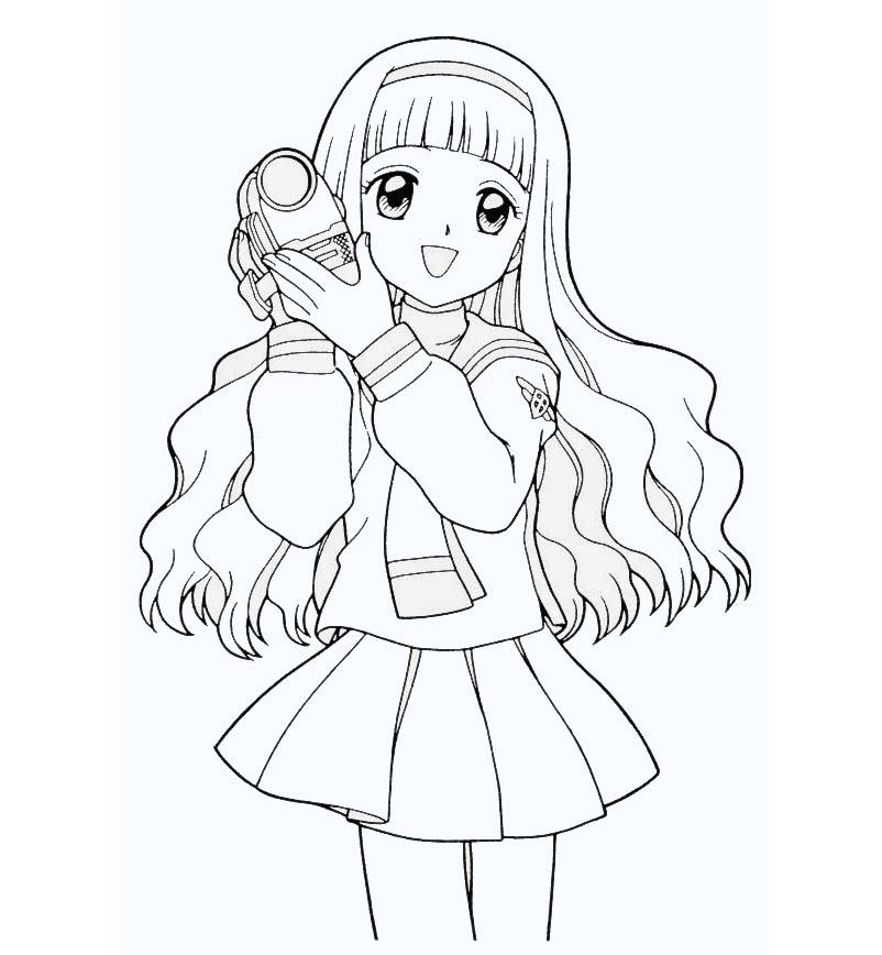 Tập tô màu cô gái anime dễ thương