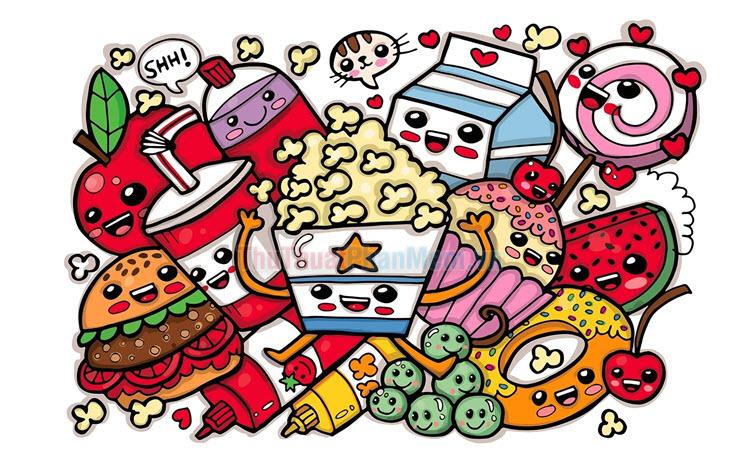 Tổng hợp tranh tô màu đồ ăn đẹp