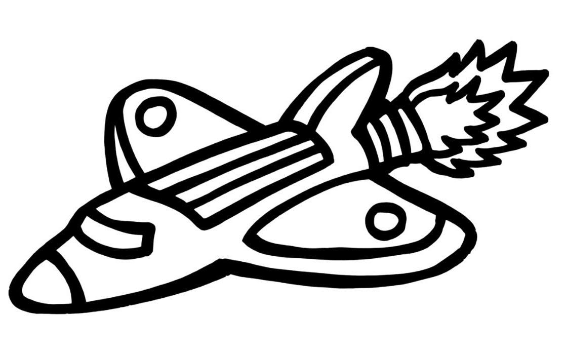 Tranh tàu con thoi tô màu đơn giản