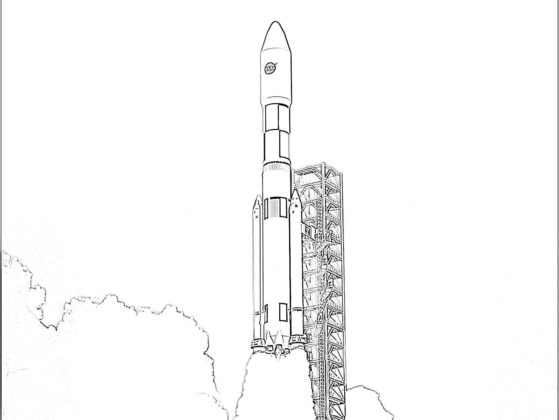 Tranh tên lửa trên bệ phóng tô màu