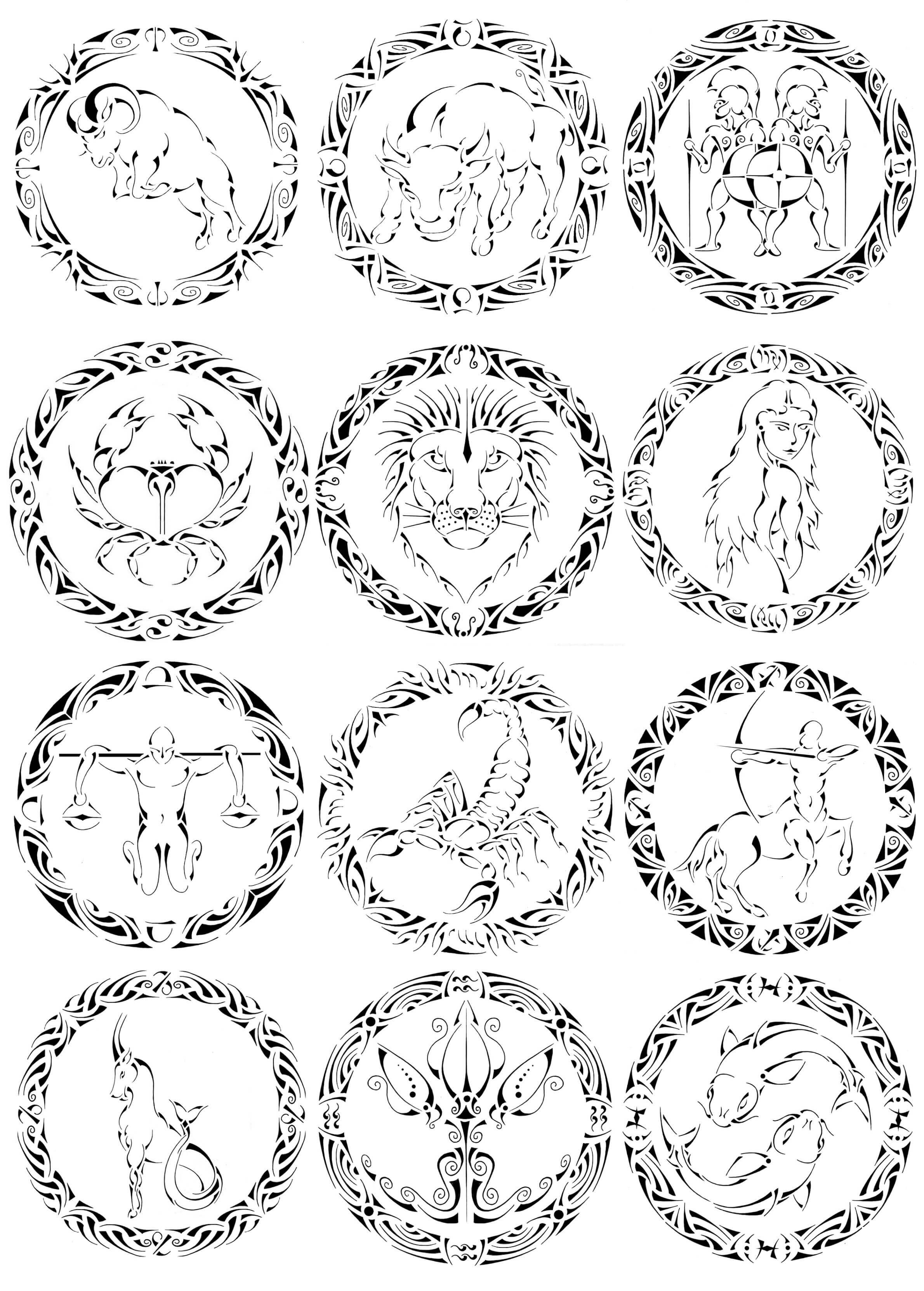 Tranh tô màu 12 cung hoàng đạo đẹp nhất
