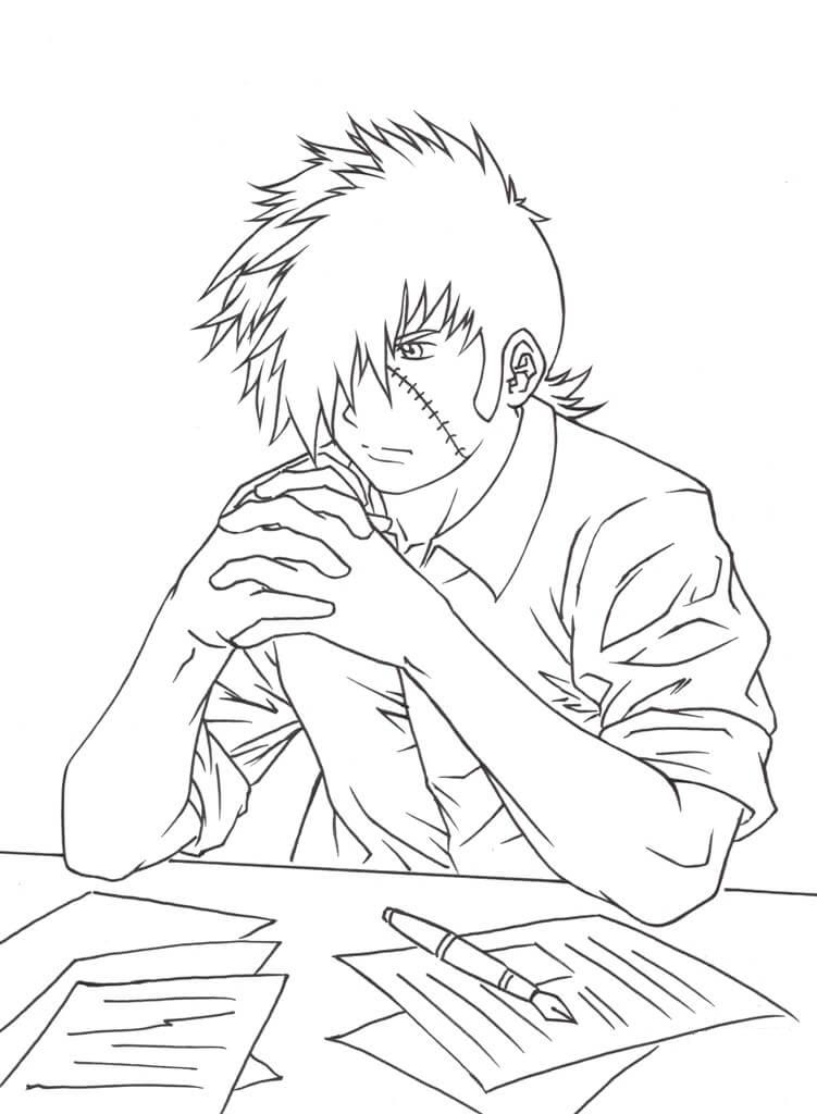 Tranh tô màu anime boy