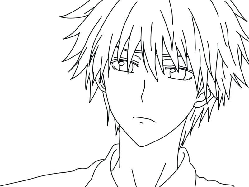 Tranh tô màu anime chàng trai đẹp