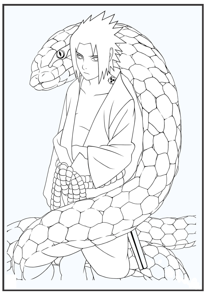 Tranh tô màu anime chàng trai và con trăn
