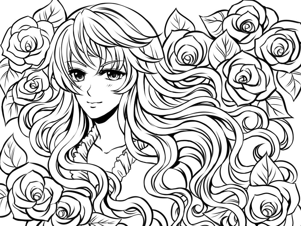 Tranh tô màu anime cô gái và hoa hồng