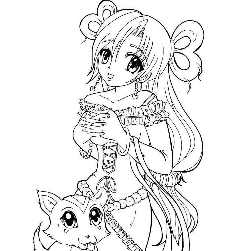 Tranh tô màu anime girl