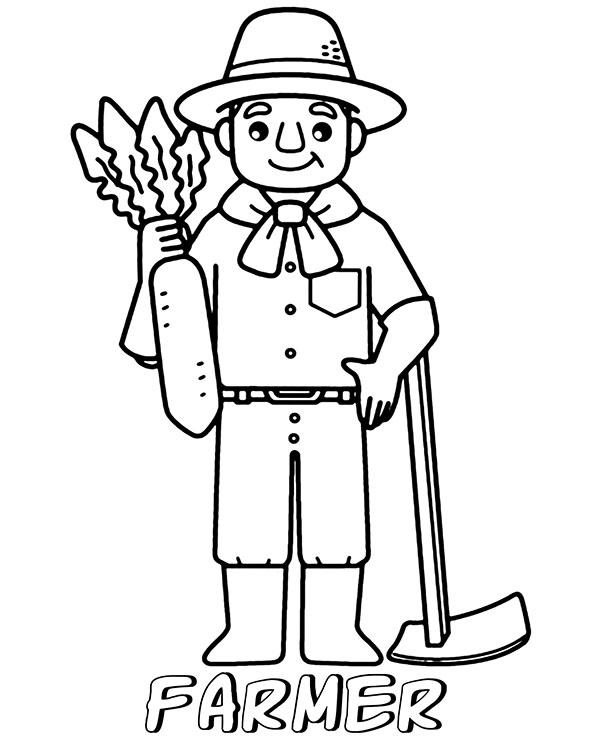Tranh tô màu bác nông dân chăm chỉ