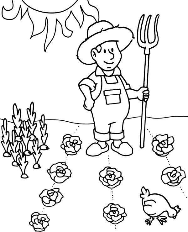 Tranh tô màu bác nông dân cho bé cực đẹp