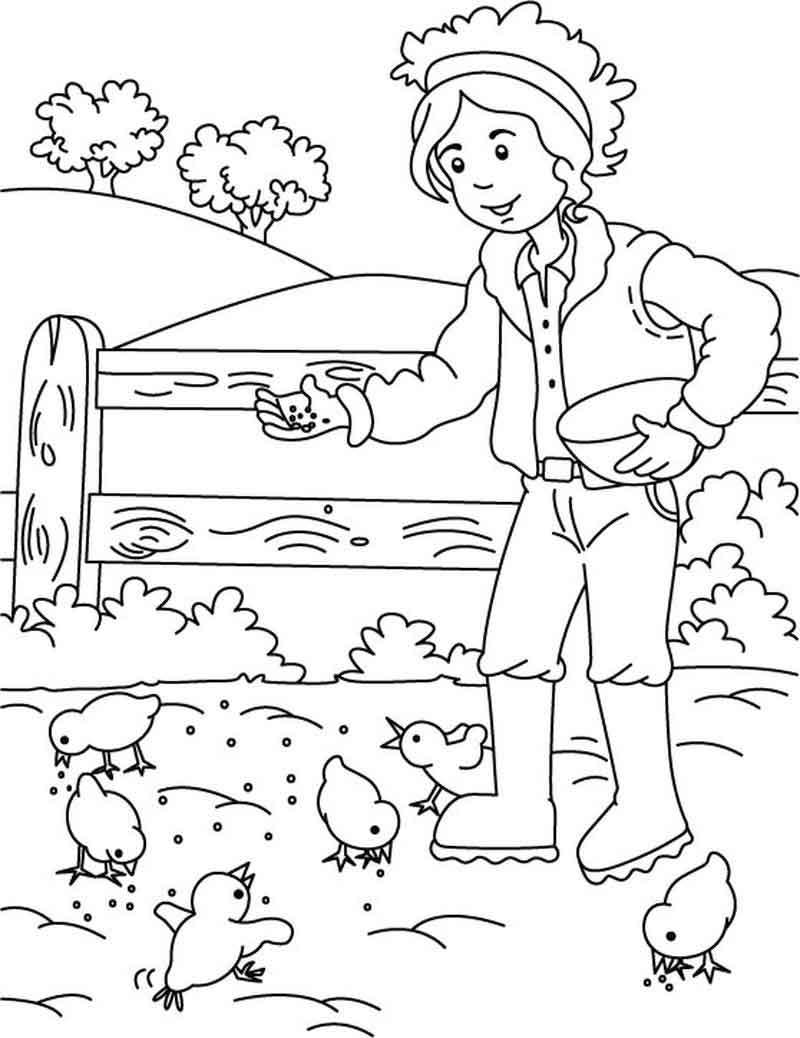 Tranh tô màu bác nông dân đẹp cho bé