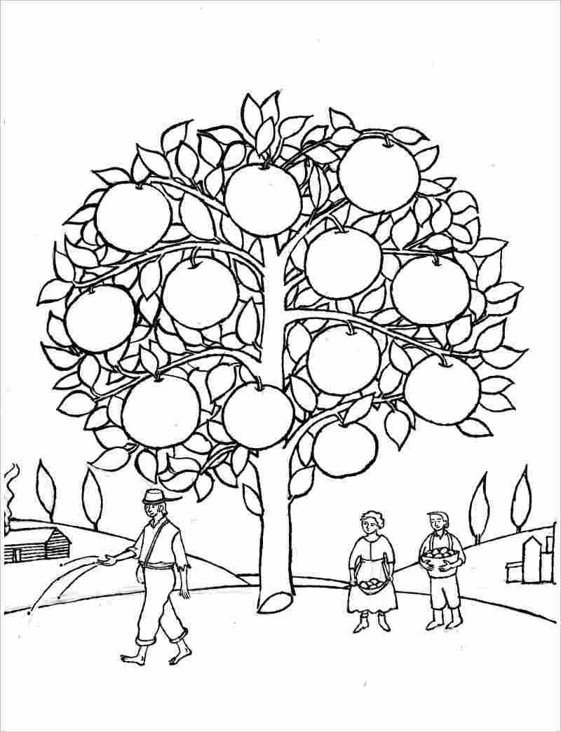 Tranh tô màu bác nông dân trồng cây