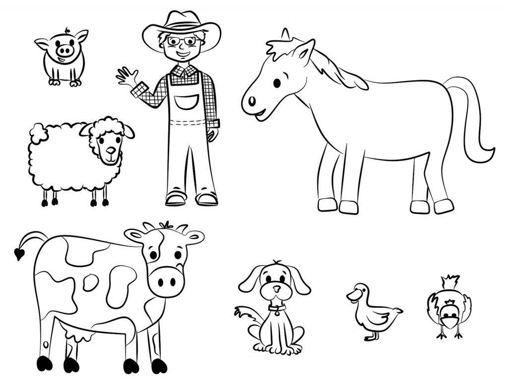 Tranh tô màu bác nông dân và nông trại