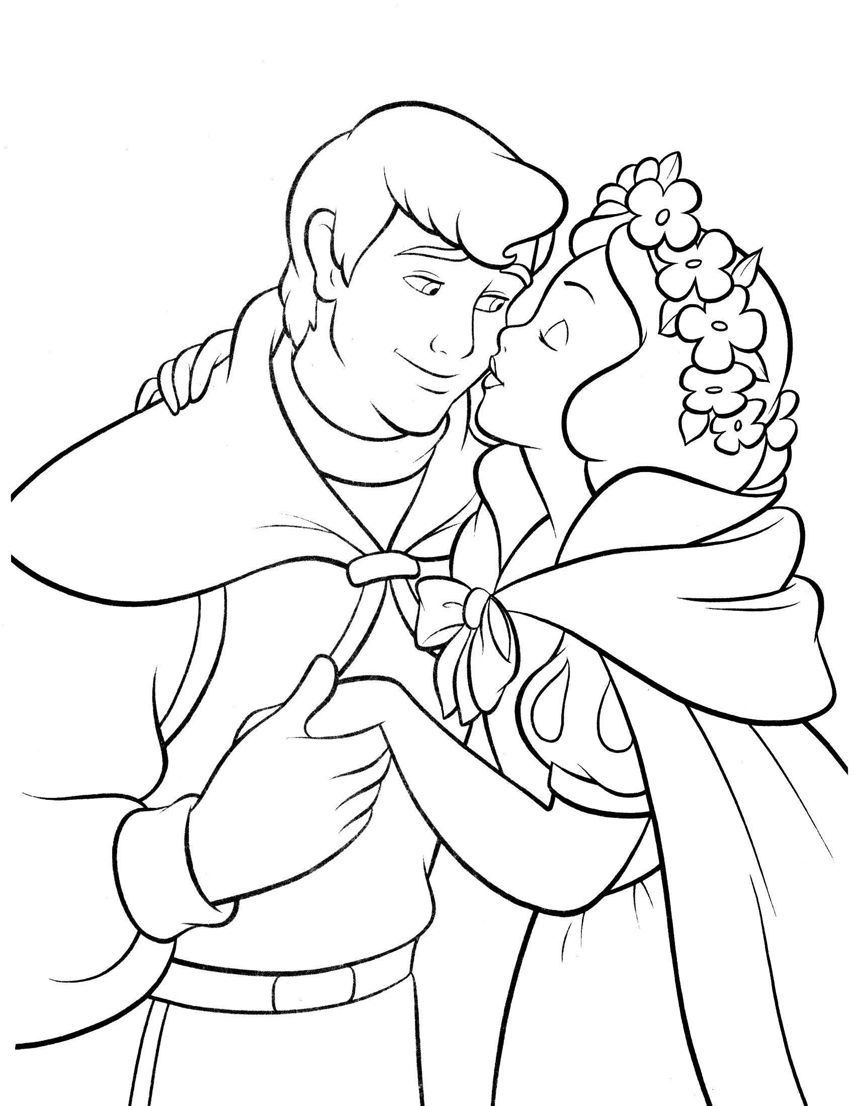 Tranh tô màu bạch tuyết cùng hoàng tử