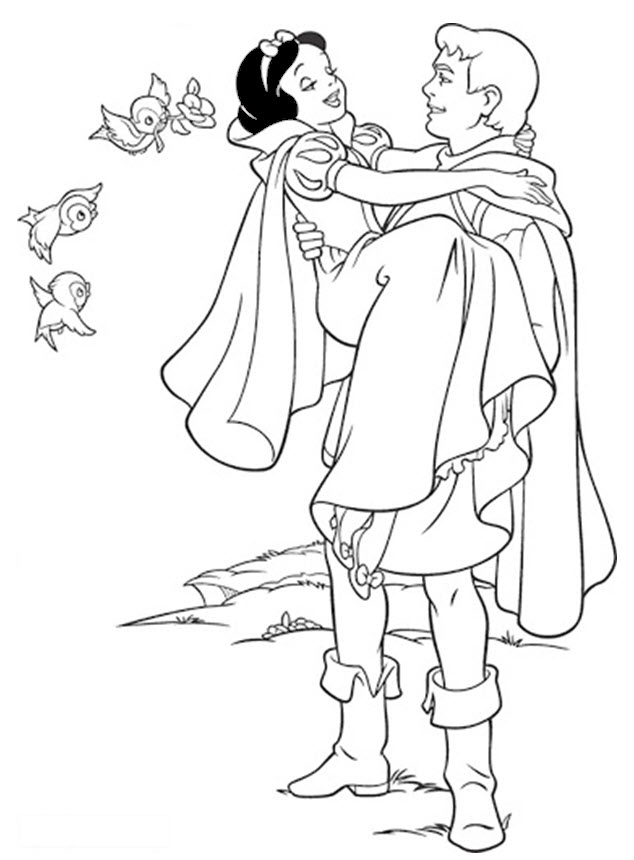 Tranh tô màu bạch tuyết và hoàng tử