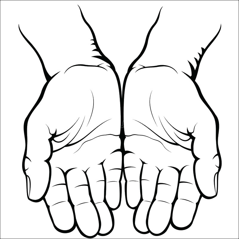 Tranh tô màu bàn tay đang mở