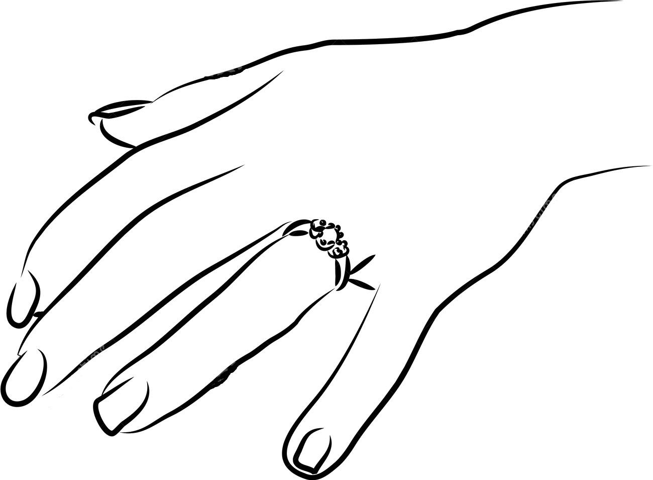 Tranh tô màu bàn tay đeo nhẫn