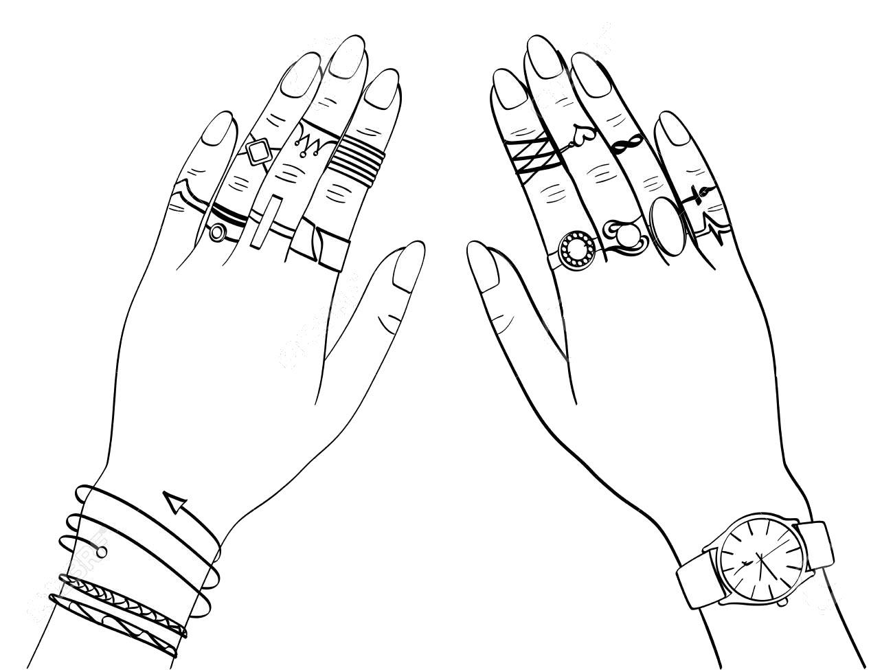 Tranh tô màu bàn tay đeo trang sức đẹp nhất