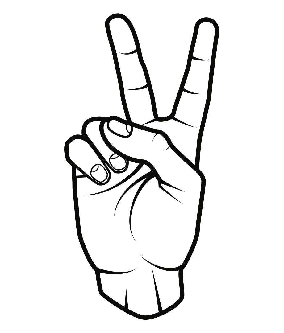Tranh tô màu bàn tay giơ số 2