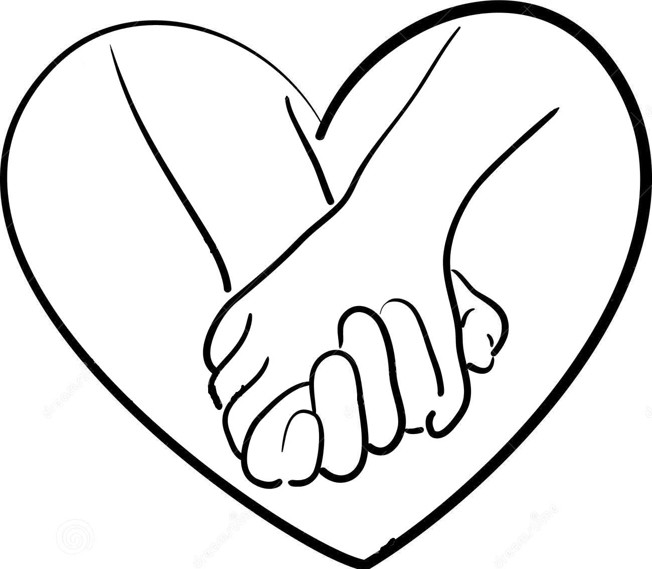 Tranh tô màu bàn tay và hình trái tim
